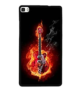 printtech Burning Fire Music Guitar Back Case Cover for Huawei P8