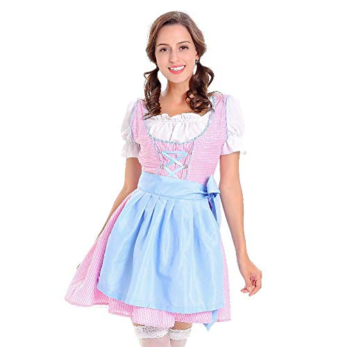 KIMODO Damen Oktoberfest Dirndl Kleid, Bayerische Bar Maid Oktoberfest Karneval Kostüm 3 teilig Set Party Cosplay Dirndl Traditionelles Minikleid