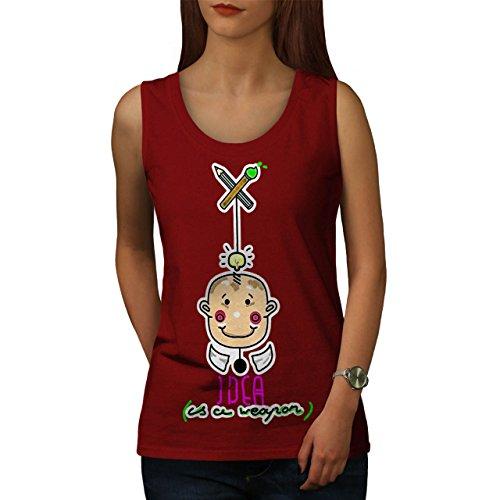 Idee Cool Entwurf Mode Kreativität Damen Schwarz S-2XL Muskelshirt | Wellcoda Rot