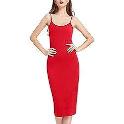 Kate Kasin Robe Bretelle Ete Rouge Femme Moulante Fond de Robes M KK881-4