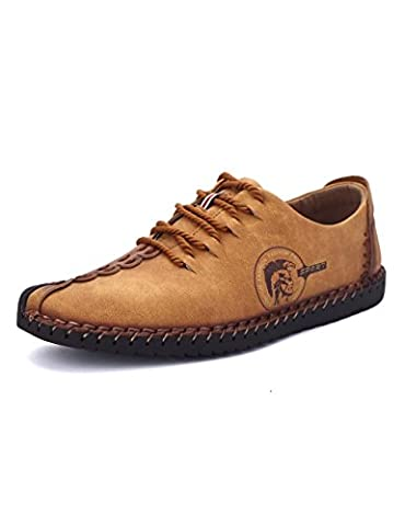 Bldance Men British Style Retro Stiching Soft Sole Lace Up