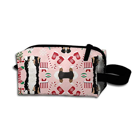 Christmas Colored Coat Dog Breeds Pink Travel Bag Printed Multifunction Portable Toiletry Bag Cosmetic Makeup Pouch Case Organizer for Travel.