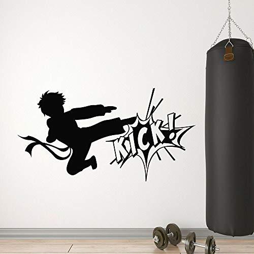 ganlanshu Kick Martial Arts Kampf Karate Boy Wandtattoo Vinyl Wandaufkleber Sport Modern Home Decoration Wohnzimmer Martial Art 30cmx57cm