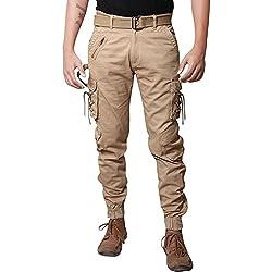 Krystle Men's Cotton Track Pant & Trouser (Kry-Khakhi-Zipper-Dori-Cargo32_Khakhi_32)