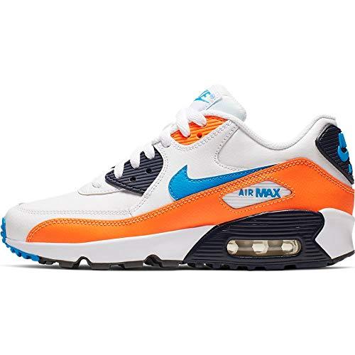 Nike Herren Air Max 90 Ltr (gs) Leichtathletikschuhe, Mehrfarbig (White/Photo Blue/Total Orange 116), 38.5 EU