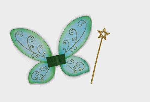 KarnevalsTeufel Elfen-Set, Gold oder Silber Stab mit Flügel grün, Flügel, Elfe, bezaubernd, Zauber, Märchen, märchenhaft (Gold)