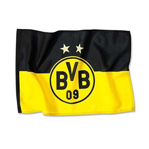 BVB 14134100 Stockfahne 90x60cm mit Logo, Schwarz/Gelb
