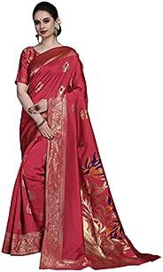 COTTON SHOPY Women's Kanchipuram Art Silk Saree With Blouse Piece (Cott-927_P