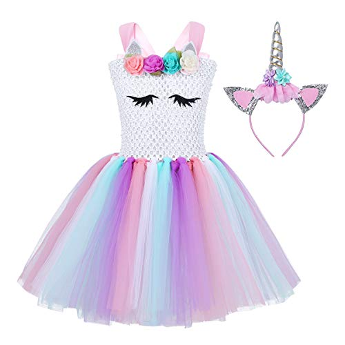 CHICTRY Robe Fille cérémonie sans Manches déguisement Licorne Enfant Tutu Robe +Serre-tête déguisement Princesse Fille Cosplay Halloween Carnaval 2-12ans Blanc* 6-7ans
