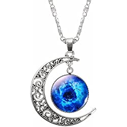 Eleganzza Unisex Beautiful Moon Eye Pendant Necklace with chain for men and women