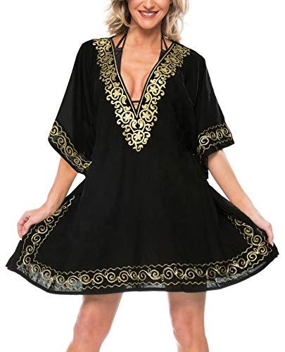 LA LEELA Frauen tief Hals Bestickt Bikinibadebekleidung Badeanzug Bluse verschleiern schwarz -