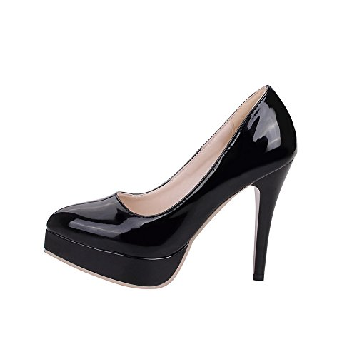 VogueZone009 Femme Verni Pointu Tire Couleur Unie Chaussures Légeres Noir