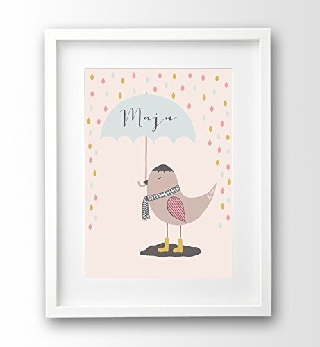 Kinderposter Vogel, Name personalisiert