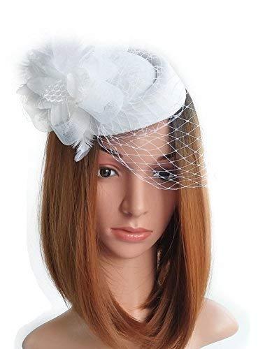 Fascinator Hut-Pillbox-Hut Britischer Bowler-Hut-Blumen-Schleier-Hochzeits-Hut-Tee-Party-Hut (Weiß) -