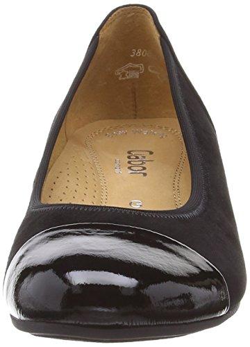 Gabor - Scarpe col tacco, Donna Nero (Black (Black Suede/Patent))