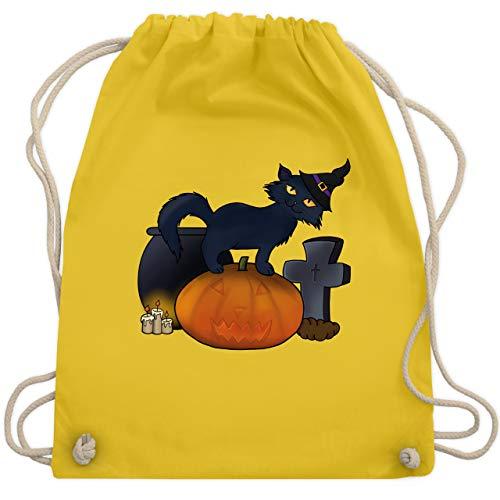Halloween - Halloween Katze mit Hexenhut - Unisize - Gelb - WM110 - Turnbeutel & Gym Bag