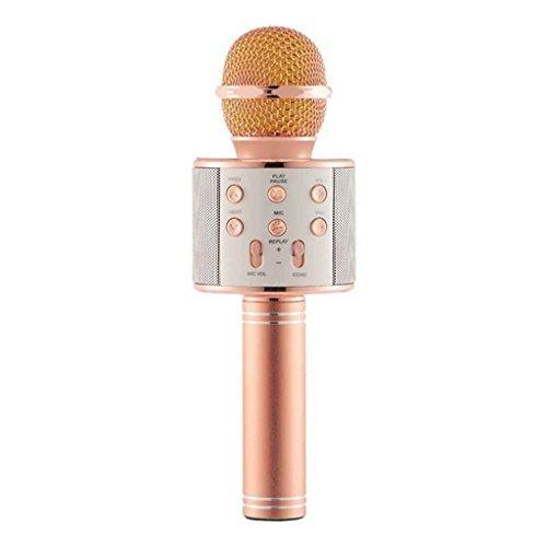 Aotejia Microfono senza fili di KTV Karaoke per microfono del microfono di WS858 di Bluetooth per il iPhone / Samsung Oro Oro rosa