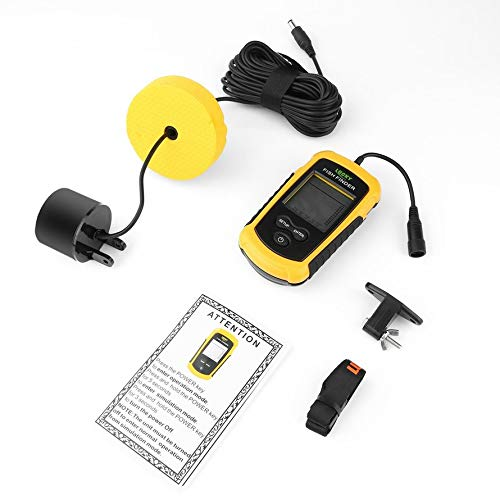 Lucky Portable Fish Finder Sonar Sounder Alarm Transducer Fishfinder 0.7-100m Fishing Echo Sounder with Battery with English Display Ice Transducer
