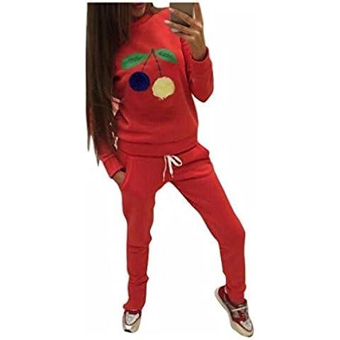 Baonoop_Mujeres Sudadera Litchi Ball Blusa Camisa Conjunto Pantalones