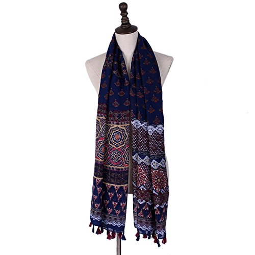 Generic Tassel Scarves for Women Bandana Vintage Printed Scarfs for Ladies Luxury Brand Hijab Pashmina Shawls