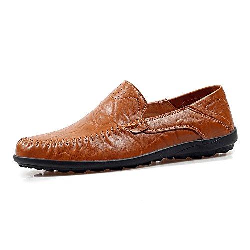 TYLS Shoes lww-Scarpe uomo scarpe di guida in pelle Testa tonda colore solido bocca poco profonda Black