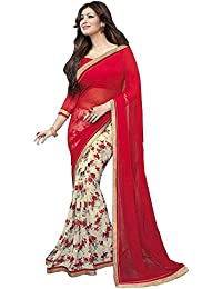 Women's Clothing Latest Red & White Georgette Saree With Blouse Piece (Georgette,Red & White, Free Size)