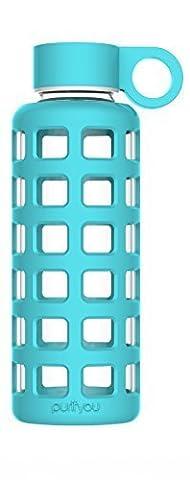 Purifyou Bouteille avec enveloppe en silicone et bouchon en acier inoxydable 360ml (12 oz) bleu eau