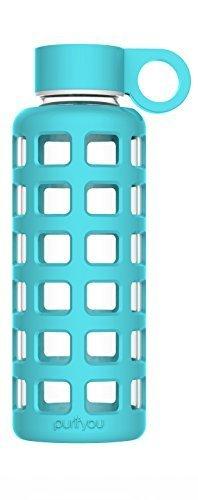 purifyou Glas-Wasserflasche mit Silikonhülle und Edelstahl-Deckeleinsatz 340 g aqua blue (Spade Kate Stroh)