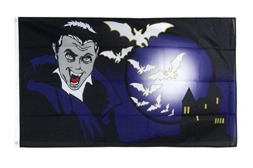 Fahne / Flagge Halloween Vampir und Fledermäuse + gratis Sticker, Flaggenfritze®