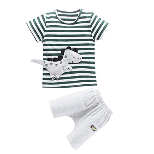 Babybekleidung,Resplend Kleinkind Kinder Baby Jungen Outfits Dinosaurier Cartoon T-shirt Gestreifte Tops Shorts Outfits Kleidung Sets Lässig Streifen Kurzarm Tops 2 Stück Bekleidungssets (Grün, 12M)