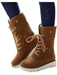 Botas de Nieve Mujer Invierno Forradas Calientes Planos Fur Calentar Caña Altas Piel Antideslizante Cálidas Botines Snow Boots Casual Negro Marrón Beige Amarillo 34-43