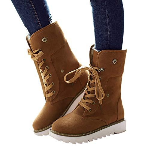 Botas de Nieve Mujer Invierno Forradas Calientes Planos Fur Calentar Caña Altas Piel Antideslizante Cálidas Botines Snow Boots Casual Marrón 38