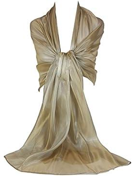 GFM - Echarpe Branded Sheer Shimmer iridiscente ideal para usar por la noche, bodas, fiestas, dama de honor