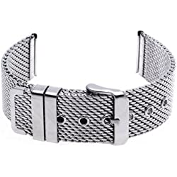 Gleader 22mm Unisex Thick Mesh Steel Watch Band Strap Bracelet Pin Buckle Silver Fashion