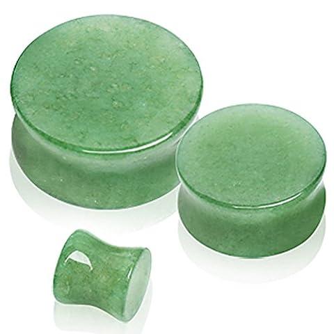 16 mm Vert naturel Jade Semi Pierre précédente Double Flared Selle Plug-oreilles Élargisseur