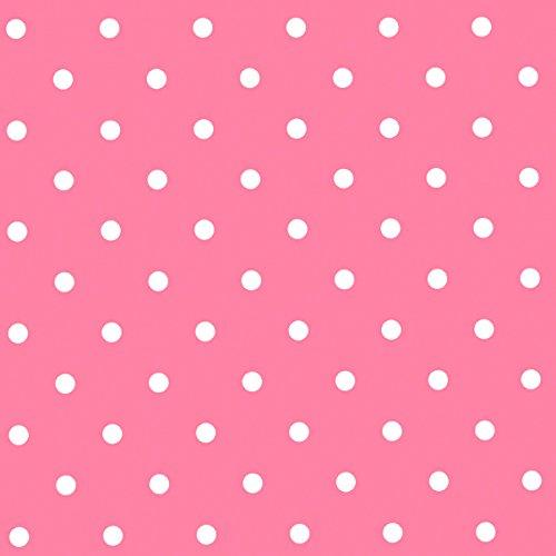 Jolee Fabrics Tischtuch pink und weiß klein polka dot PVC Vinyl Tischdecke rund, Pink, 135cm (53