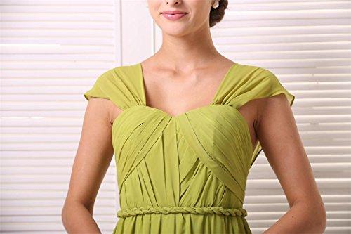 EnjoyBridal® Damen Kurz Chiffon Rükenfrei Abendkleid Ballkleid Festkleid mit Träger Gelb