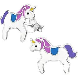 Laimons Kids Pendientes para niña Unicornio Rosa, Morado, Azul Plata de ley 925