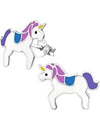 Laimons Pendientes para niña Unicornio Rosa, Morado, Azul Plata de ley 925