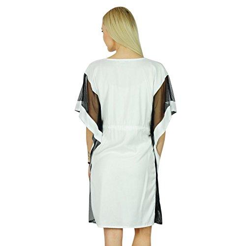 Bimba femmes Chic court Kaftan Net manches kimono Exclusive Blanc Rayon Caftan Dress Blanc