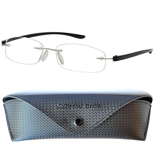 Lesebrille randlos mit ovalen Gläsern - mit GRATIS Etui | Edelstahl Rahmen (Silber) | Lesehilfe für Damen und Herren | +1.5 Dioptrien