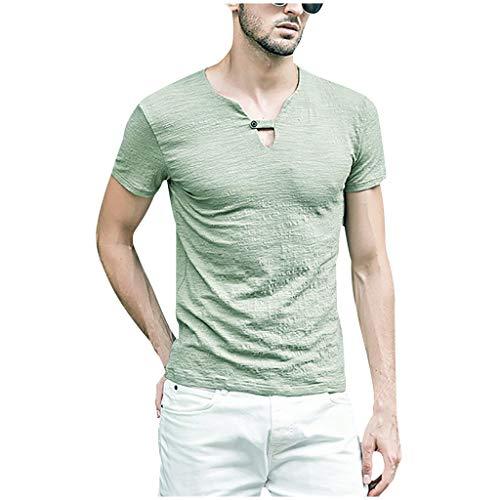 Herren einfarbig lässig locker Hemdoberteil Casual Oversize Baumwolle Kurzarm Top, Bluestercool Vintage Leinen Solide Retro T Shirts Bluse Twill Hooded Fleece-sweatshirt