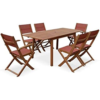 Salon de Jardin en Bois Extensible - Almeria - Table 120 ...