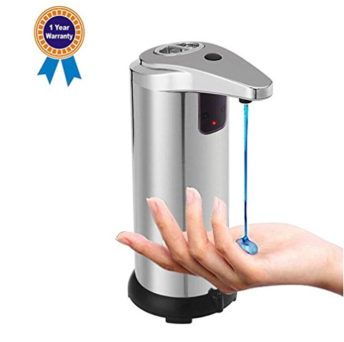 Automatic Soap Dispenser, Emwel 250milliliter Stainless Steel Touchless Hand Motion Sensor Auto Liquid Soap Dispensers with Base for Kitchen and Bathroom Office Sanitizer Shampoo Lotion