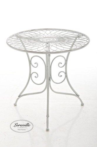 CLP graziler Eisentisch ARIANO Design, Durchmesser Ø 54,5 cm (aus bis zu 2 Farben wählen) Antik Weiß