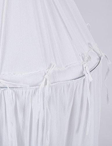 Tyhbelle Betthimmel für Kinder Babys Baumwolle Hängende Moskiton Höhe 230 cm Saumlänge 270cm (Weiß) - 8