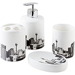 """Bisk """"City, de Set de accesorios para baño, color blanco, Juego de 4"""