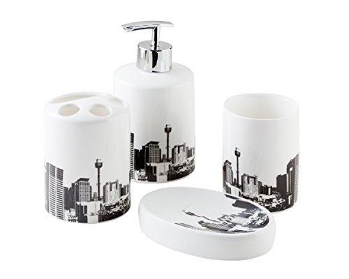 Bisk City Juego de accesorios de baño, 4 piezas, color blanco