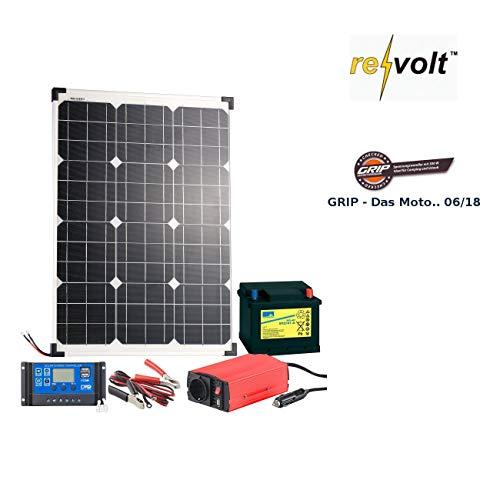 revolt Solarpanel Set: Solarpanel (50 W) mit Blei-Akku, Laderegler & Wechselrichter (Solar Inselanlage)
