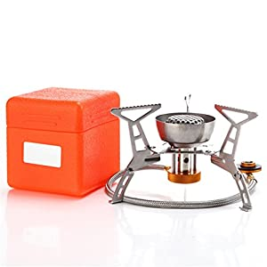 41GL6uiNHNL. SS300  - BrilliantDay Camping Gas Stove Portable Camping Stove Picnic Gas Burner Carrying Case Foldable Camping Stove for Outdoor Backpacking Hiking(3200W, with piezo ignition)